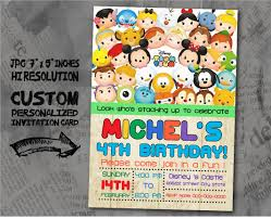 Personalized Invitation Card For Birthday Tsum Tsum Birthday Invitation Card Size 5x7