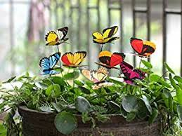 ginsco 25pcs butterfly stakes outdoor yard planter