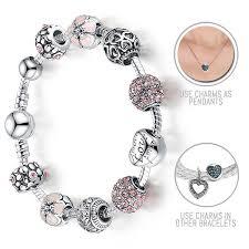 bracelet style images Lovely pink cherry blossoms silver pandora style bracelet combo jpg