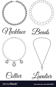 necklace types images Types of necklaces outline royalty free vector image jpg