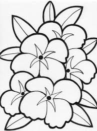 coloring pages of attractive flowers with leaves for kids
