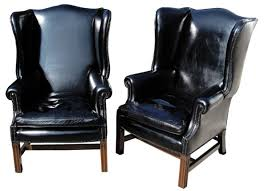 Leather Wingback Chair 4064 Black Leather Wingback Chair Ralf U0027s Antiques