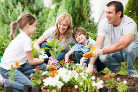 family spring gardening flowers drainrooter plumbing