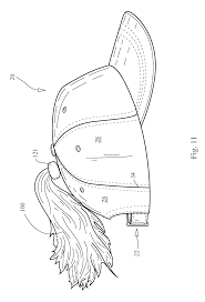 patent us8418266 hat or cap having synthetic hair extending