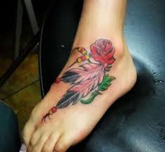 feathers n a rose tattoo design on foot photo 3 photo