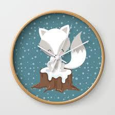 Wall Clocks Winterland Fox Wall Clock By Magic Dreams Society6
