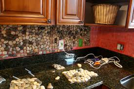 Diy Tile Kitchen Backsplash Wonderful River Rock Tile Backsplash 150 River Rock Tile Kitchen