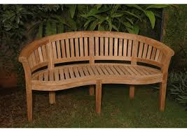 curved teak bench product