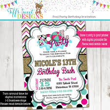 pool party invitation summer party water party invite