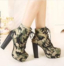 womens high heel boots australia 2015 camouflage boots squared toe army green ankle boots