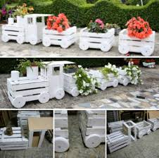 Diy Garden Planters by Wooden Train Garden Planter Made With Crates Crate Training