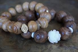 white bead bracelet images Beaded bracelets buddhist men 39 s mala bracelet white lotus jpg