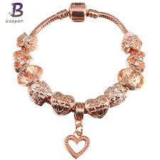 love heart charm bracelet images Baopon rose gold crystal beads love heart charm bracelets amp jpg