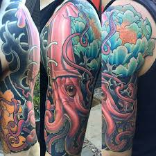 giant squid sleeve remington tattoo parlor
