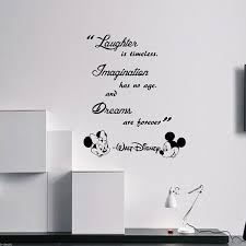 laughter is timeless walt disney wall quote mickey minnie vinyl laughter is timeless walt disney wall quote mickey minnie vinyl decals removable wall stickers amazon co uk handmade
