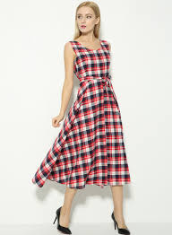 Vintage Tartan Print V Back Midi Dress Oasap Com
