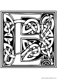 Coloriage Lettre E à imprimer dans les coloriages Lettrine Celte