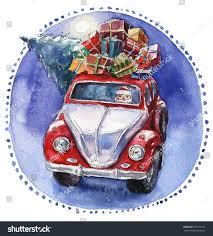 volkswagen santa watercolor christmas illustration santas car stock illustration