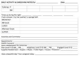 daily notes for caregivers with free printable forms for daily