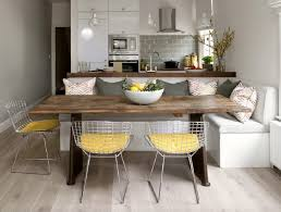 White Tile Kitchen Table by Light Gray Kitchen Banquette Yellow Net Chairs Subway Tile
