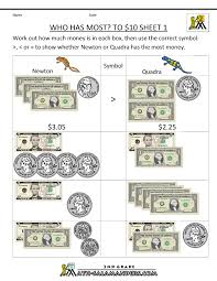 money printable worksheets who has most to 10 dollars homeschool