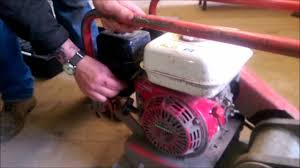 how to start a honda engine plate compactor youtube
