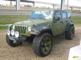 ghetto jeep 2007 wrangler unlimited rubicon 4x4 jeep green metallic dark