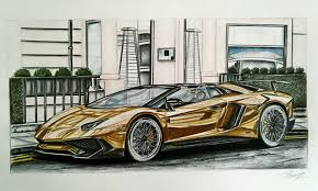 cars lamborghini gold gold lamborghini aventador sv roadster drawing took alot of
