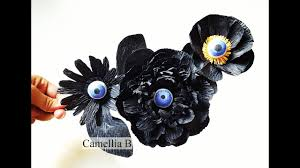 diy eyeball paper flowers for halloween decoration from crepe
