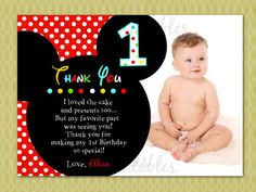 Mickey Mouse 1st Birthday Card Birthday Card Best Choices 1st Birthday Thank You Cards Birthday