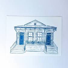 new orleans style double shotgun house letterpress card 5 pack
