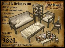 Old World Living Room Furniture by Second Life Marketplace Rustic Living Room In White Old World