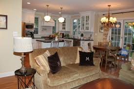 Open Plan Kitchen Living Room Lighting - appliances european style chandelier with cream sofa also white