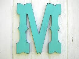 Letter Wall Decor Rustic Wooden Letter M Western Cowboy Style 12 Inch Wedding