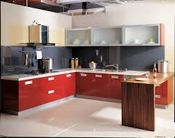 Red Color Kitchen Walls - endearing l shape red color italian kitchen cabinets with white