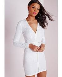 missguided lace plunge zip long sleeve bodycon dress white where