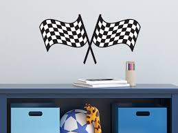 Nascar Bedroom Furniture by Amazon Com Sunny Decals Racing Checkered Flags Fabric Wall Decal