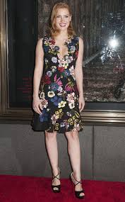 jessica chastain in erdem floral mini dress and u201ccross me u201d sandals