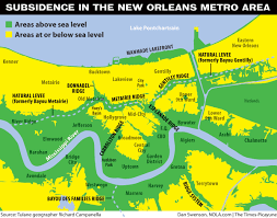 Map Of New Orleans Usa by New Orleans Was Once Above Sea Level But Stormwater Drainage Has