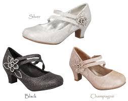new girls black champagne gold silver dress shoes heels kids
