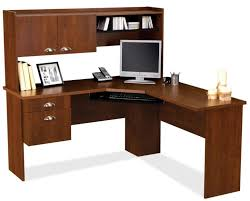 Light Wood Computer Desk Corner L Shaped Office Desk With Hutch Base Pc Storage Dark