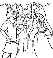 robin hood carving love tree coloring pages robin hood