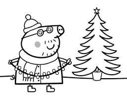 coloring pages peppa the pig daddy pig decorates xmas tree coloring page free printable