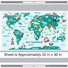 Kids World Map What A Wonderful World Map Decal Kids World Map Decal By Chromantics