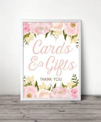 wedding gift table sign 8 x 10 pink floral wedding gifts and card table sign file