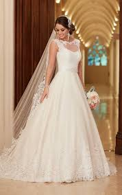 traditional lace wedding dress with train stella york