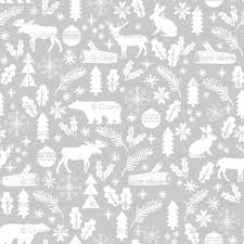 woodland grey winter fabric reindeer