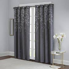 Silver Window Curtains Charcoal Grey Silver Embroidered Floral Window Curtain 95