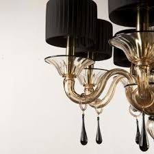 gold and black modern murano glass chandelier grimani