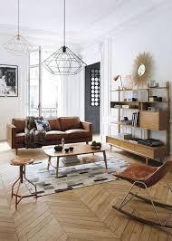 idée de canapé idee deco salon classique canape en cuir marron sol en parquet